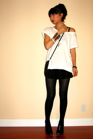 H&M t-shirt - forever 21 skirt - Herve Chapelier purse - DIY accessories