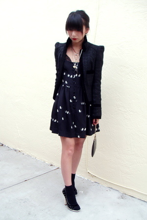 Jill Stuart dress - Topshop jacket - random brand socks - Marc Jacobs shoes