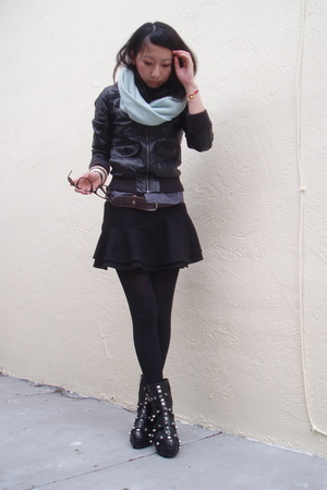 Alexander Wang scarf - H&M jacket - Topshop skirt - tripp shoes