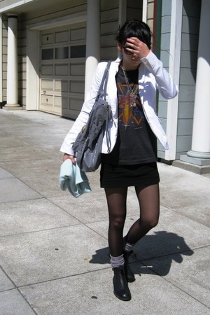 Helmut Lang blazer - vintage t-shirt - random from sex shop in Berkeley tights -