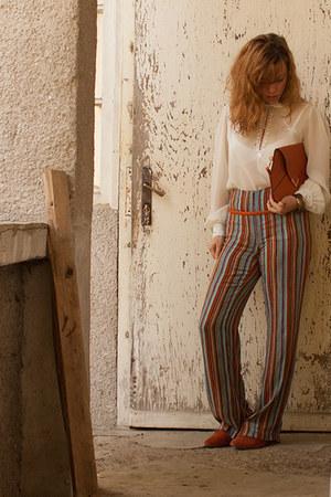 white vintage blouse - carrot orange leather shoes - carrot orange leather bag