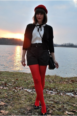 red H&amp;M hat - black ferragamo shoes - red Target tights - gray Forever 21 shorts