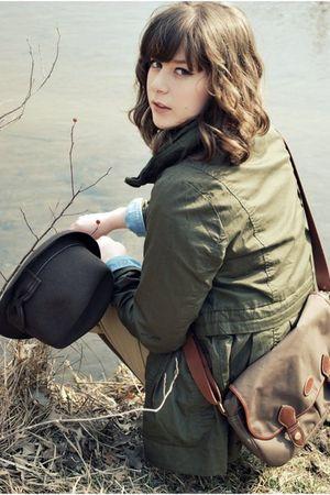 green Forever 21 jacket - blue vintage shirt - brown vintage vest - beige vintag