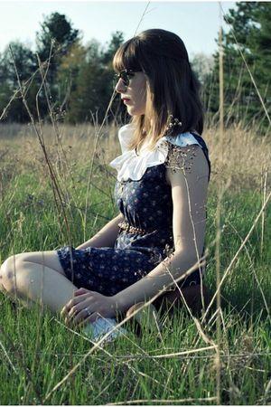 brown blimey oxfords seychelles shoes - blue custom floral Dear Beatrice dress