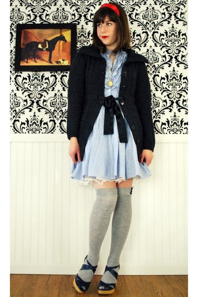 blue modcloth dress - gray Forever 21 sweater - silver Urban Outfitters socks -