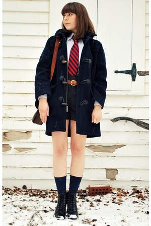 blue Brooks Brothers coat - red JCrew tie - gray Forever 21 shorts - blue Brooks