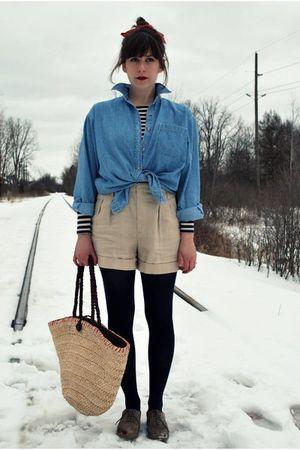 blue vintage shirt - blue Ralph Lauren t-shirt - beige Forever 21 shorts - blue