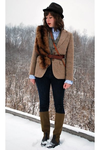 brown vintage jacket - brown vintage vest - brown dolce moda hat - brown vintage