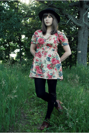 pink modcloth dress - black Urban Outfitters hat - Target tights - brown seychel
