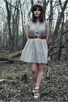 purple modcloth dress - beige Urban Outfitters hat - brown Forever 21 belt - bro