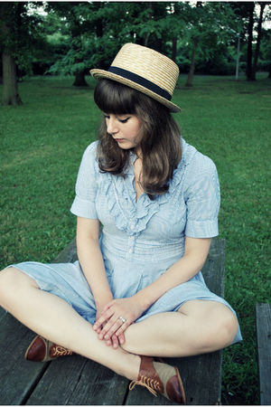 blue modcloth dress - beige Urban Outfitters hat - brown Jeffrey Campbell shoes