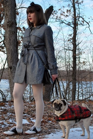 black saddle shoes vintage shoes - gray tweed coat Forever 21 coat
