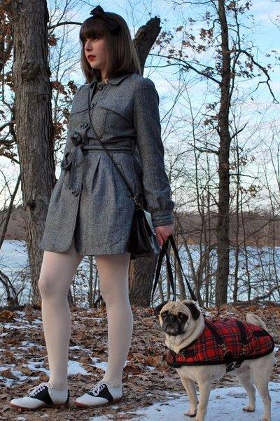 black saddle shoes vintage shoes - gray tweed coat Forever 21 coat