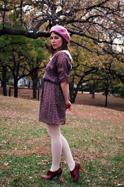 cream Target tights - dark brown floral print Ruche dress