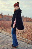 flare citizens of humanity jeans - clogs Jeffrey Campbell shoes - cape asos coat