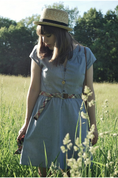 blue modcloth dress - beige Urban Outfitters hat - blue JCrew belt - gold modclo