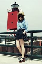 blue vintage shirt - black vintage shorts - beige Urban Outfitters hat - black c