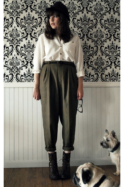 white vintage blouse - brown vintage pants - brown Jeffrey Campbell boots - brow