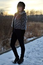 silver Forever 21 jacket - blue Urban Outfitters jeans - white thrifted blouse -