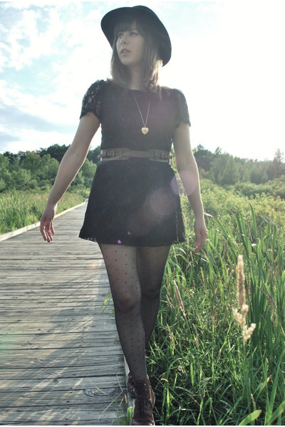 black modcloth shorts - black Urban Outfitters hat - brown madewell belt - brown