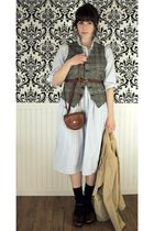 brown tweed vintage vest - brown clogs miz mooz shoes - blue shirt JCrew dress