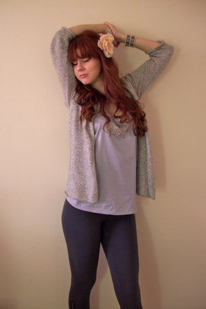gray Old Navy leggings - heather gray H&M sweater - silver Costa Blanca top