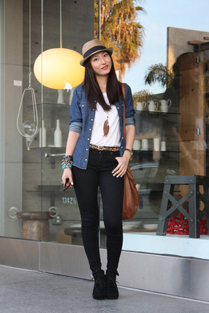 black Zara jeans - navy jean shirt H&M shirt - brown Nordstrom bag