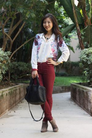 crimson H&M jeans - white floral shirt H&M shirt