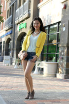 yellow Zara blazer - tan suede booties Steve Madden boots