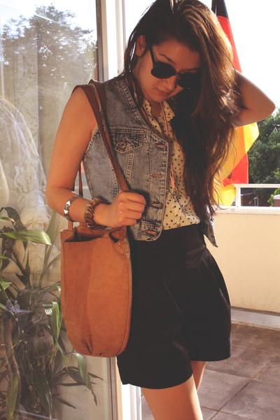 blue vintage vest - white H&M blouse - black H&M shorts - brown vintage accessor