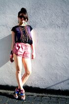 pink  shorts - brown Lumedisco shoes - black Zara shirt