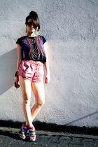 pink  shorts - brown Lumedisco shoes - black Zara shirt