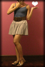 Blue-top-gray-skirt-brown-belt-gold-accessories