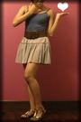Blue-top-gray-skirt-brown-belt-gold-accessories