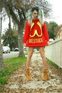 Red-rehab-clothing-sweater-black-bad-vibes-shorts-jeffrey-campbell-heels