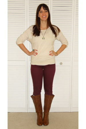 tawny wedge Target boots - brick red skinny Target jeans