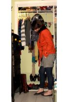 orange Forever 21 jacket - blue Gap tights - gray Gap shorts