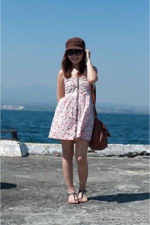 floral KAT Collection dress - H&M bag - cotton on sunglasses - braided random sa