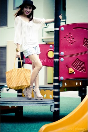 chambray cotton on shorts - goyard bag - sheer H&M blouse
