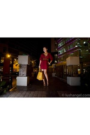 H&M shoes - red kimono KAT Collection dress - st louis goyard bag - gold chain G