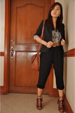 lace up H&M shoes - new look blazer - shoulder bag H&M bag - KAT Collection romp