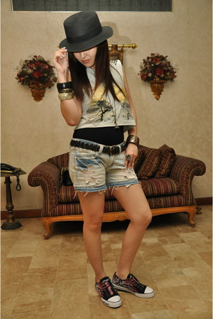 cropped Topshop shirt - distressed Pill shorts - Ed Hardy sneakers - H&M bracele