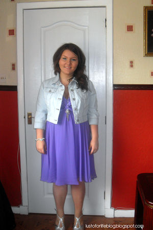 blue new look jacket - purple TK Maxx dress - silver new look shorts - silver br