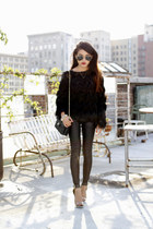 vintage chanel Chanel bag - Ray bans sunglasses - fringe blouse storets top