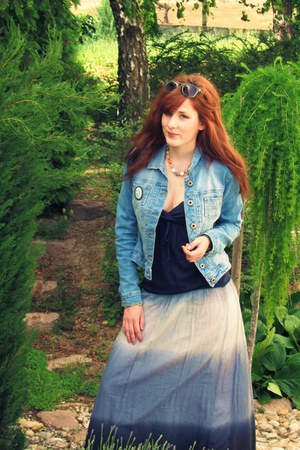 tie-dye skirt - Bershka jacket - navy top - from my grandma accessories