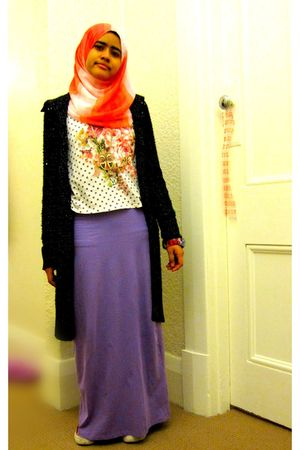 white Temt top - purple globalize dress - black gift from friend Dotti jacket -