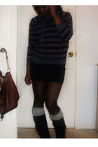 black American Apparel skirt - black Forever 21 sweater - silver Wet Seal socks 