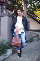 white Urban Outfitters top - navy Forever 21 jeans - black H&M jacket