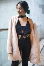 beige Old Navy coat - black windsor boots - black Forever 21 jeans