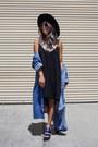 Black-forever-21-dress-navy-denim-overcoat-thrifted-vintage-coat
